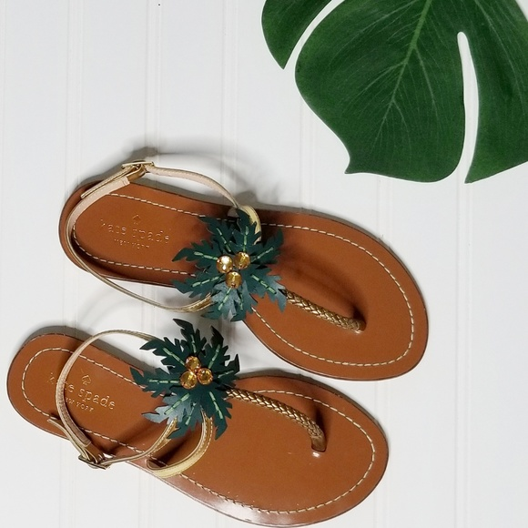 kate spade Shoes - Kate Spade Solana Palm Tree Leather Sandals 6.5